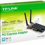 ARCHER T6E – TP-Link Archer T6E AC1300 Wireless Dual Band PCI Express Adapter 1300Mbps 5GHz (867Mbps) 2.4GHz (400Mbps) 802.11ac 2x External Detachable Antennas