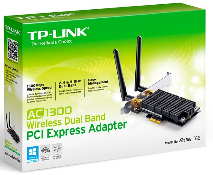 ARCHER T6E - TP-Link Archer T6E AC1300 Wireless Dual Band PCI Express Adapter 1300Mbps 5GHz (867Mbps) 2.4GHz (400Mbps)  802.11ac 2x External Detachable Antennas