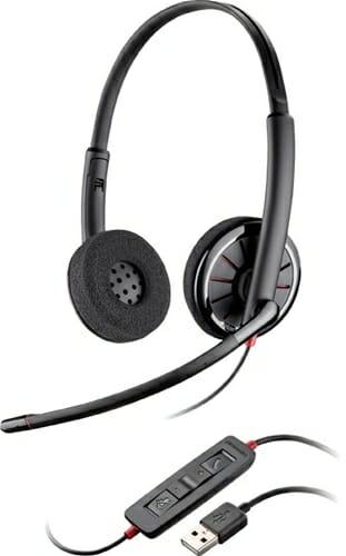 Plantronics Blackwire C325 Binaural 3.5mm/USB PC Headset, folds flat, inline controls, leatherette ear cushions, UC