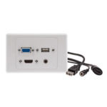 Alogic WP-VHAU – 1 X HDMI 1 X VGA 1 X USB & 1 X 3.5mm Audio Clipsal 2000 White Wall Plate with Panel Mount Cables