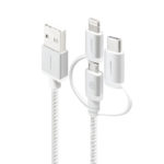MU23T1-030SLV – Alogic 3-in-1 Charge & Sync Cable – Micro USB Lightning & UBS-C – 30cm Silver – PRIME Series (Apple Certified under MFi)