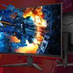 CQ32G2E – AOC 31.5′ Curved 1ms 144Hz 2560×1440 FreeSync Ultra Narrow Border Gaming Monitor – DP/2xHDMI/VGA Tilt VESA100mm Low Blue Mode Flicker Free