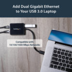 StarTech.com USB 3.0 to Dual Port Gigabit Ethernet Adapter NIC w/ USB Port