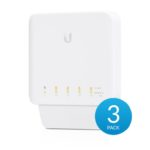 USW-Flex-3 – Ubiquiti USW Flex 3 Pack- Managed, Layer 2 Gigabit switch with auto-sensing 802.3af PoE support. 1x PoE In, 4x PoE Out